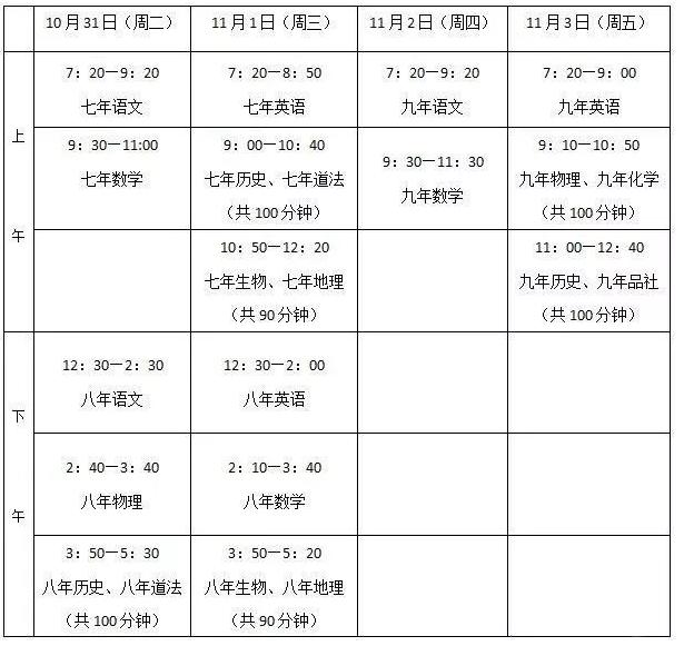 长春市朝阳区初中喜迎期中考,考试时间都在这里了!!!