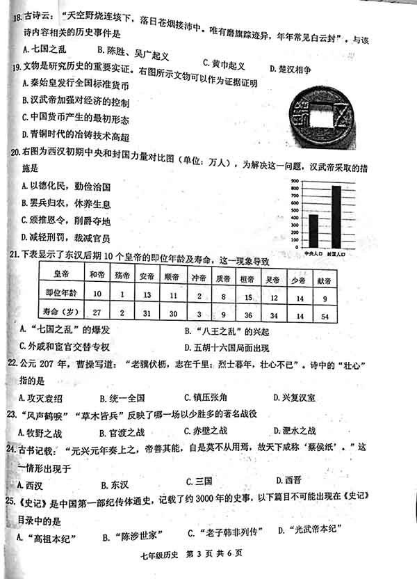 2017-2018学年徐州市初一期末考试真题【历史】分享!