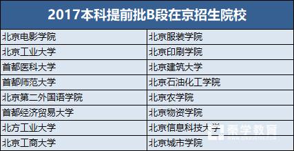 北京本科提前批次B段招生院校