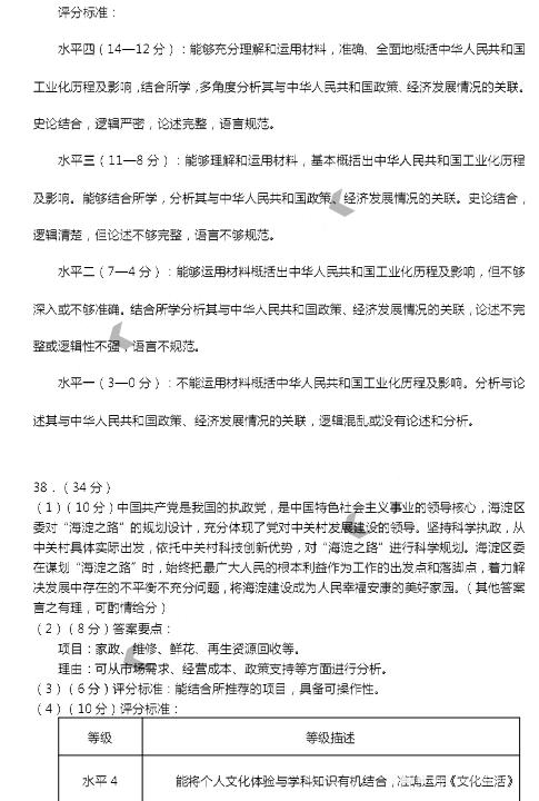 2018年北京市海淀区高三二模文综参考答案