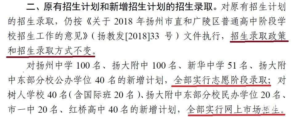 2018年扬州市直区域中考扩招文件    2018扬州市直高中扩招政策出台