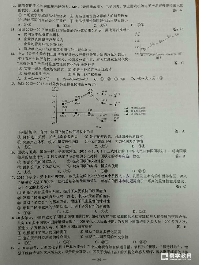 2018年高考全国三卷文综真题+答案解析