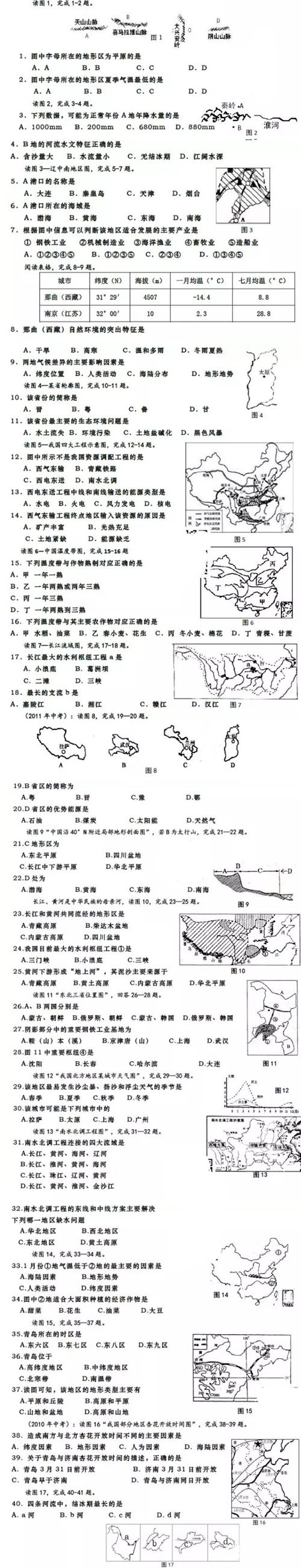初二地理选择题练习,中考地理试题80道!