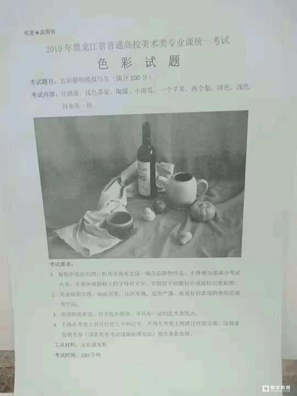 2019年黑龙江美术类统考(色彩)考题