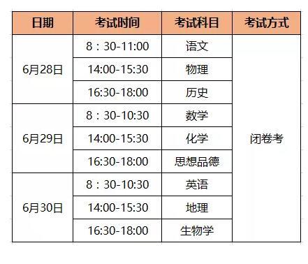 2019年云南省中考时间正式确定,6月28日至7月2日进行!