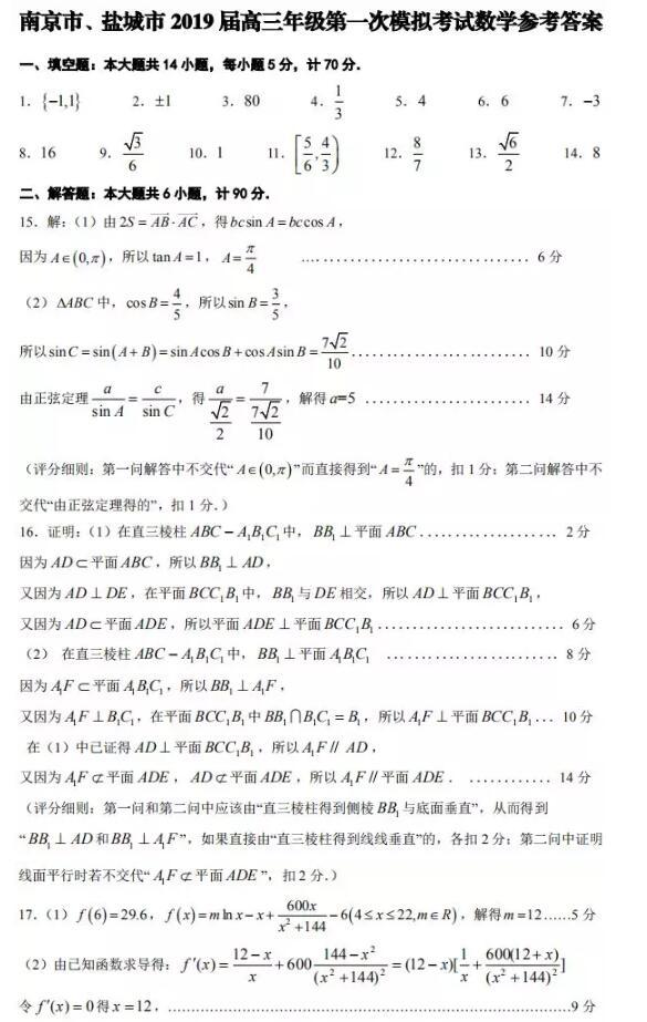 南京市、鹽城市2019屆高三一模數學參考答案分享!