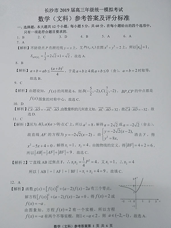 长沙2019届高三统一模拟考试文科数学参考答案详解!