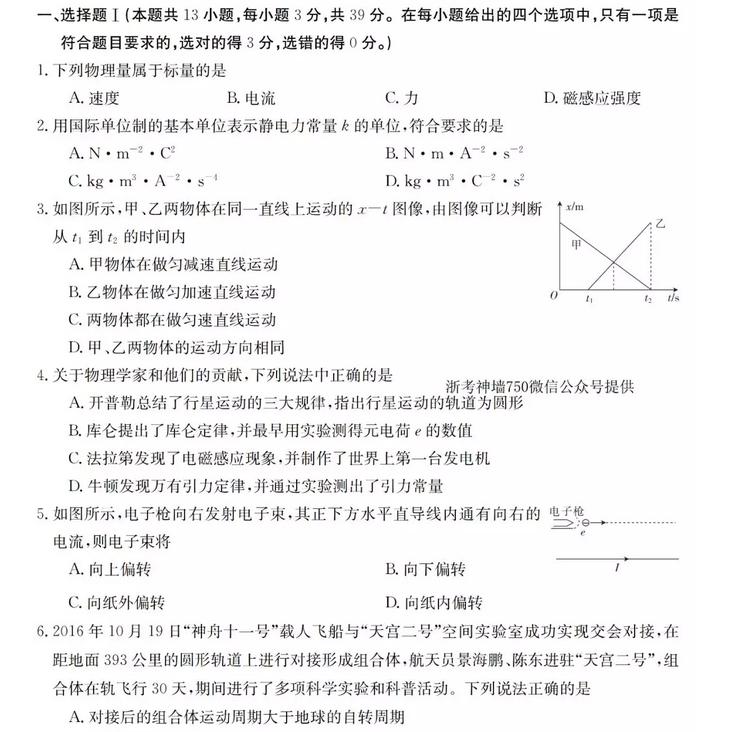 2019届浙江省衢州五校联盟高三联考物理试卷及答案分享,收藏一下吧!
