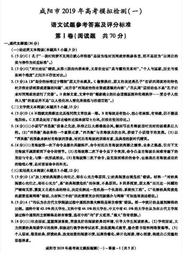 咸阳一模-2019年咸阳高三第一次模拟考试语文试题答案,学生注意了!