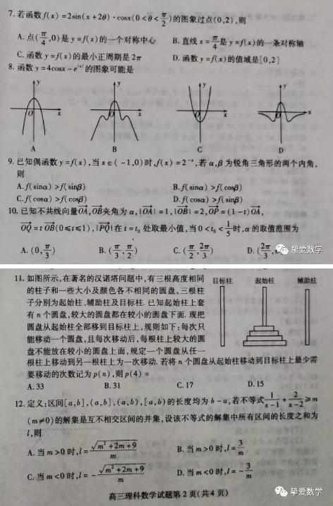 潍坊一模-2019年潍坊高三模拟考试理科数学试题,考生收藏!