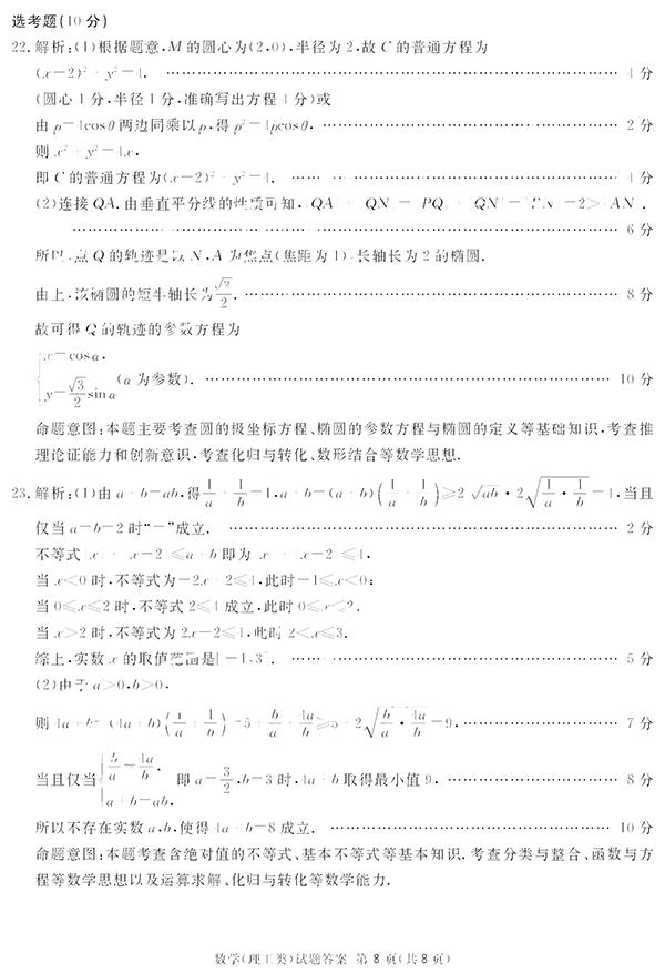 2019年四川省眉山等六市二诊考试真题-理数试题以及参考答案汇总