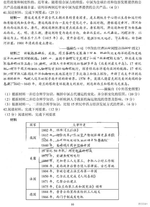 四川省成都七中2019年高三年级二诊模拟考试试题(文综 图片版)