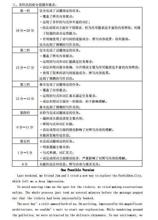 2019年北京市海淀高三一模英语试题参考答案,供大家浏览参考!