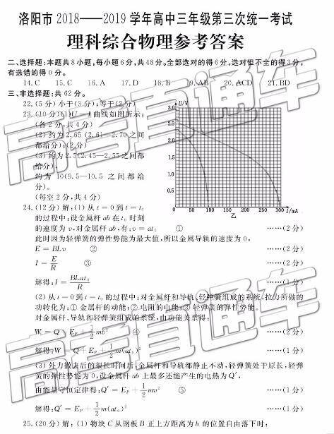 2019年洛阳三统理科综合参考答案,附专业介绍!