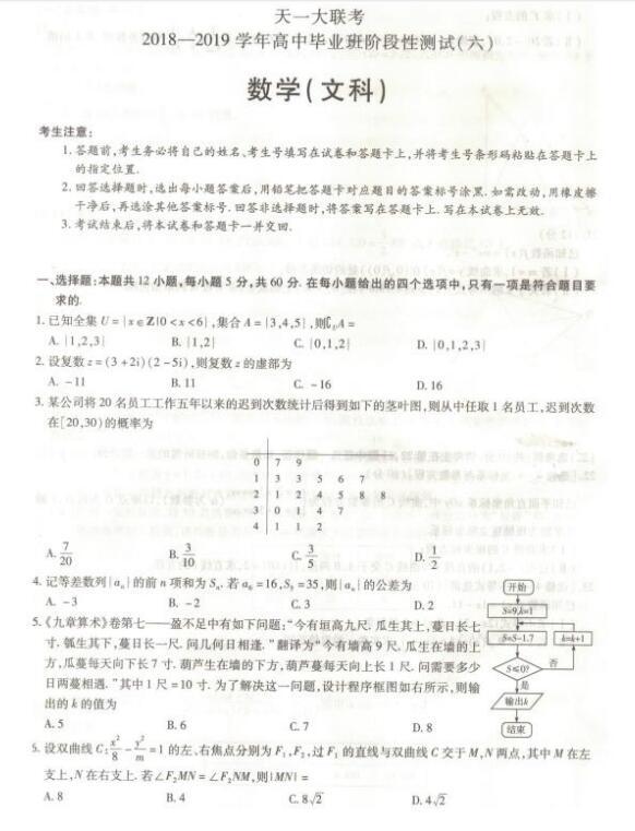 天一大联考:河南省2019届高三天一大联考(六)文科数学试题