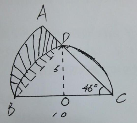 小学数学拓展题,求阴影部分的面积?圆心角45度高5