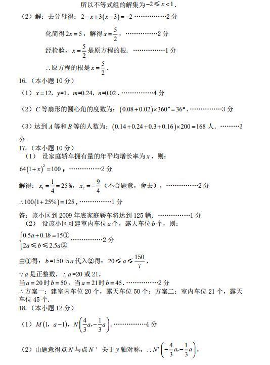 2019年全国高中数学联赛模拟试题(九)答案