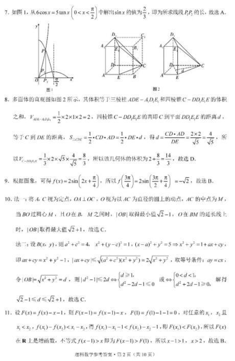 西南名校聯盟高考適應性月考2020屆高三理數試題及詳解!
