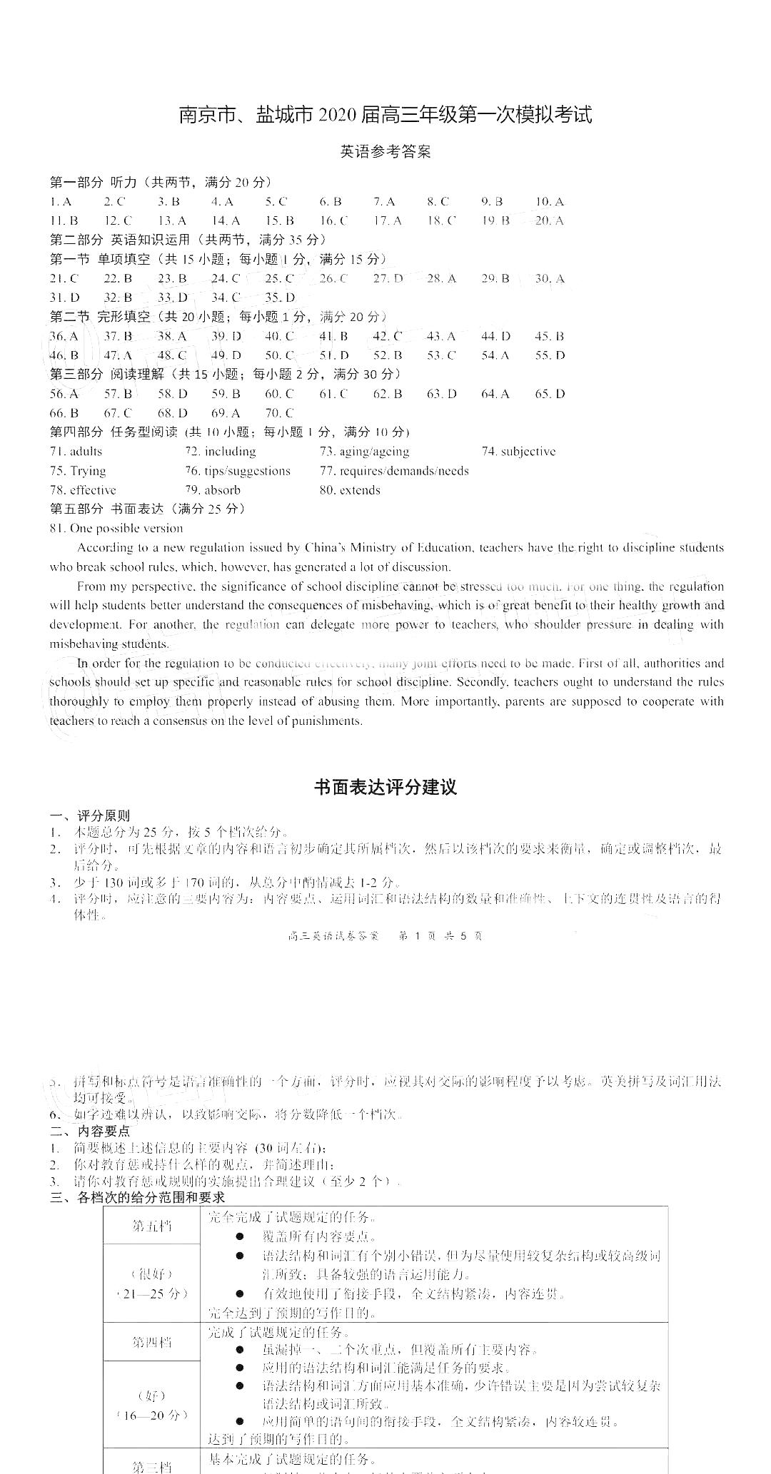 2020届江苏盐城南京一模英语试题参考答案公布!