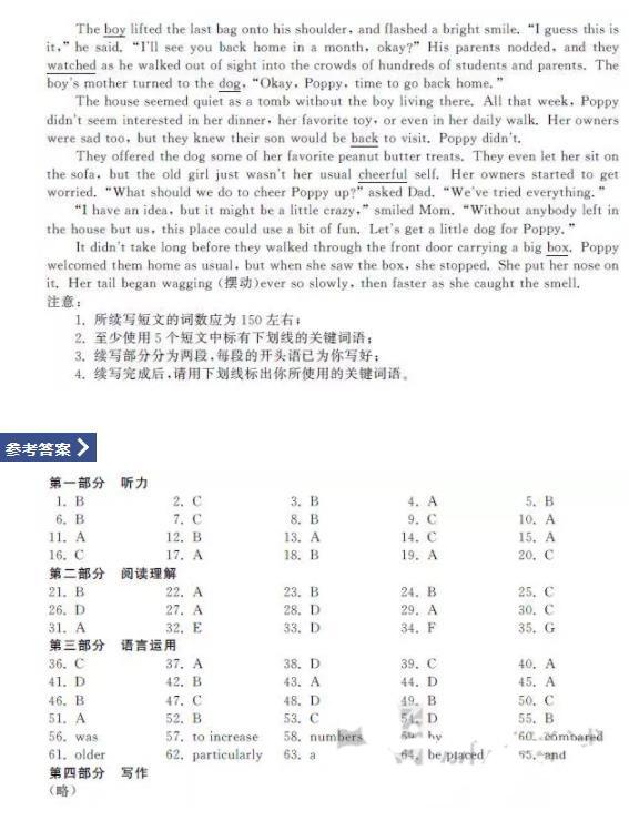 浙江省2020年選考英語試題及答案整理!考生們查看!