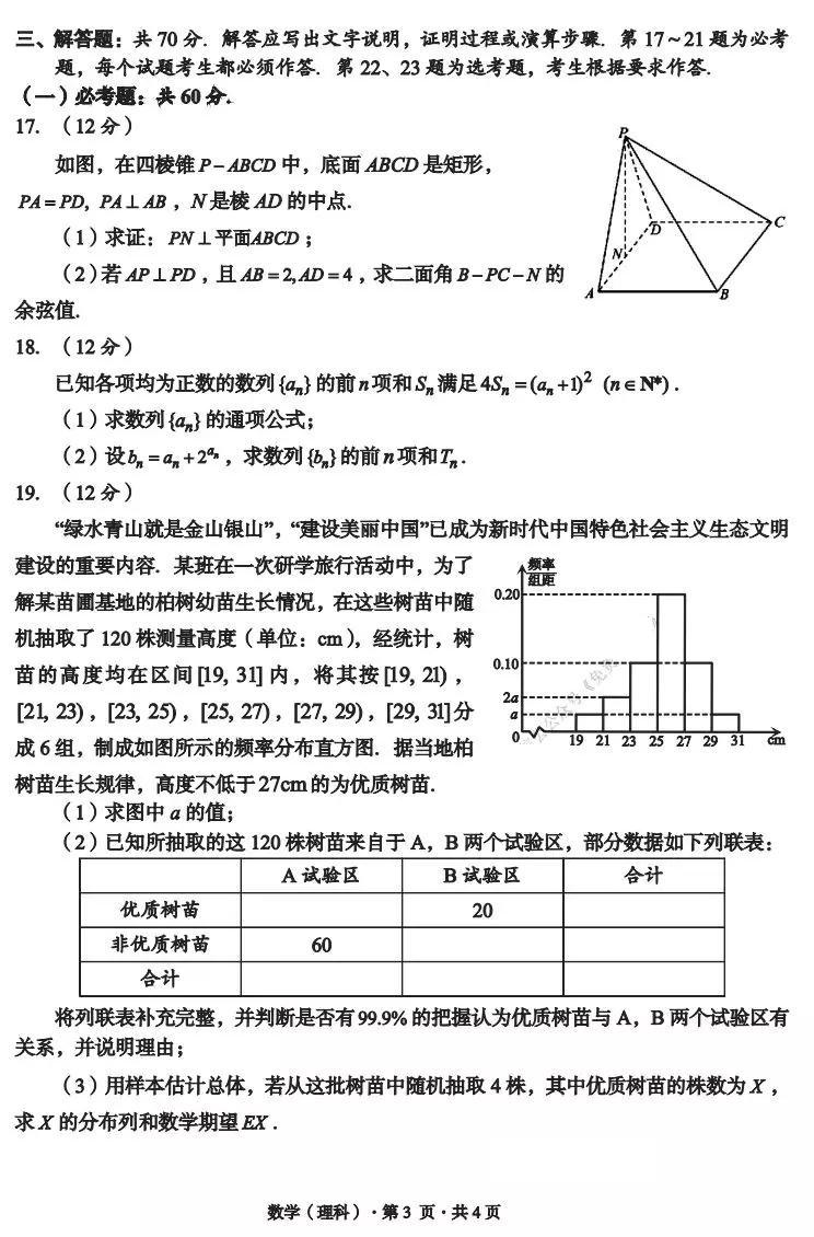 巴中市普通高中2020一诊考试文科数学试题整理分享