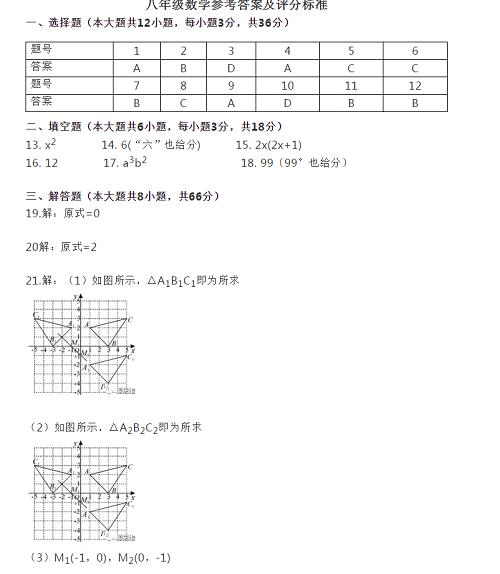 2019-2020南寧八年級第一學期數學期末試題+參考答案